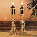 Bamboo And Seashell Tabletop Polynesian Luau Torches